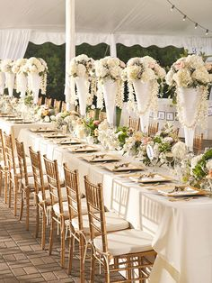 best chiavari chairs all weather wicker dining 40 chair sashes images wedding our tent reception centerpieces with gold hydrangeas garden roses and draping orchids