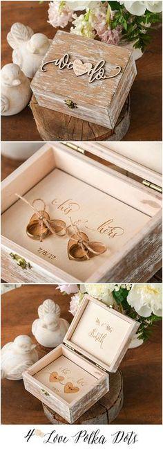 We Do ! Wooden Wedding Ring Bearer Box with custom engraving #wood #wooden #boho #bohemian #weddingring #weddingideas #wedo #ring