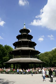 Unique Chinese Tower at the English Gardens in Munich with a wonderful Beer Garden