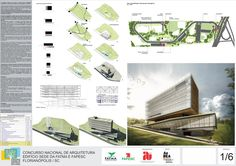 National Architecture Competition for the Headquarters FATMA / FAPESC - place 42 Project Technical Manager - Architect Mario Biselli Employees -. Architecture Tools, Architecture Panel, Futuristic Architecture, Architecture Details, Architecture Drawings, Minecraft Architecture, Architecture Presentation Board, Presentation Layout, Presentation Boards