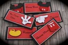MINNIE/MICKEY Mouse themed Food Tents...Menu Cards....Place Cards...Food Signs - set of 6