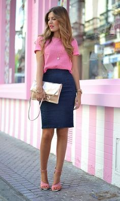 Bright top, black pencil skirt