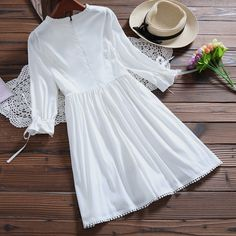 Buy Clover Dream Frill Trim Long Sleeve A-Line Dress at YesStyle.com! Quality products at remarkable prices. FREE Worldwide Shipping available!