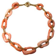 Jona Coral and Gold Link Necklace