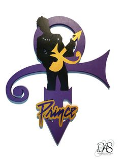 Purple Prince Symbol with gold guitar-wall by DivaArt69Studios