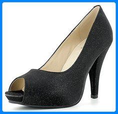Glitzer Peeptoe Damen Schuhe - Schwarz Gr. 42 - Damen pumps (*Partner-Link) Plateau Pumps, Partner, Peeps, Peep Toe, Best Deals, Link, Shoes, Fashion, Black Shoes