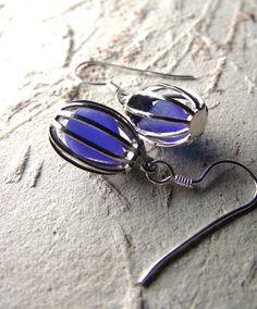 Blue Birds  - Sea Glass Jewelry - Bird Cage Earrings.  via Etsy.