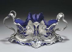 WMF  A SILVERED METAL AND BLUE GLASS JARDINIÈRE