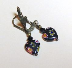 Jewelry, Earrings, Black Millefiori Heart, Swarovski  Jet Black Austrian Crystal, Antique Brass. $5.00, via Etsy.