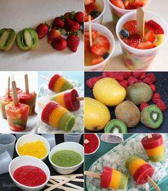 Enjoy These Tempting and Healthy Fresh Fruit Pops Fruit Popsicles, Fruit Ice, Fresh Fruit, Fruit Sorbet, Healthy Popsicles, Fruit Puree, Glace Fruit, Yummy Treats, Yummy Food
