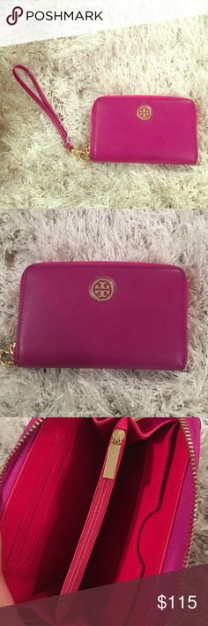 Brand new Tory Burch wristlet/ wallet ❤️ Never used! Got it over a year ago, still has plastic over the symbol. I usually wear pink so never found use for this as it is purple! I love that the wristlet handle detaches so this can just be your new wallet  Tory Burch Bags Wallets
