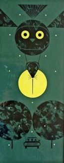 Owl with Mouse by Charley Harper, original study acrylic and gouache on illustration board for the Ford Times, February 1971