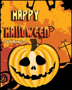 Happy Halloween Pumpkin Smile Graphic plus many other high quality Graphics for your Facebook profile at CafeMoms.com.