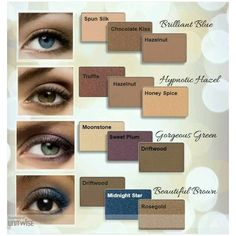 Color combinations for different color eyes!!! To get your hands on these text or call 920-573-3092 or order online at www.marykay.com/jlacey7