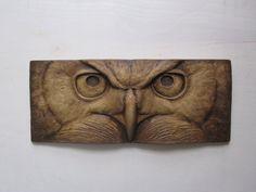 Great-Horned Owl  Sculpted Tile Nature Gift Fine Art Wallsculpture