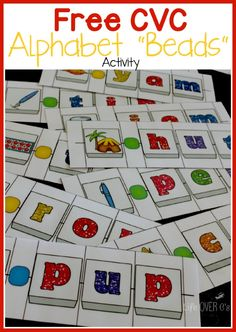 "FREE CVC Word Building Alphabet ""Beads"" Activity #kindergarten"