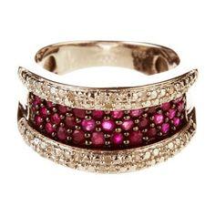 Diamond & Ruby Silver Ring