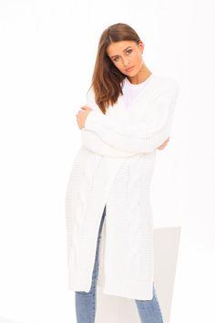 Pletený biely dámsky kardigán Fashion, Dress, Moda, Fasion, Trendy Fashion, La Mode