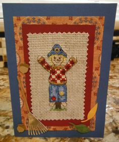 SCARECROW Handcrafted SCRAPBOOK Style Cross by CraftyCrossStitches, $7.00
