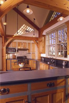 Connecticut Timber Frame Kitchen and Dining-room