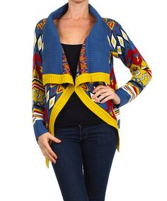 Blue & Yellow Abstract Open Cardigan - Women