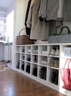 Love the shoe cubby idea. I would go full length of mudroom and higher Ideas Armario, Shoe Cubby, Shoe Shelves, Cubby Bench, Shoe Bench, Bench Seat, Hallway Storage, Shoe Storage In Mudroom, Hall Storage Ideas