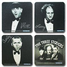 The Three Stooges Coaster Set. #ThreeStooges #Strapworks