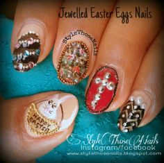 Style Those Nails: Jewelled Eggs for Easter- Easter Nailarthttp://stylethosenails.blogspot.com/2014/04/jewelled-eggs-for-easter-easter-nailart.html #easternails #easternailart