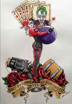 Harley Quinn Traditional Tattoo Style by skellykitten.deviantart.com on @deviantART