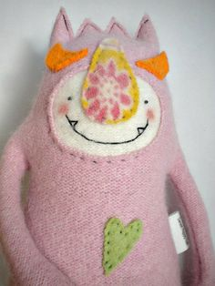 Baby Pink Monster Stuffed Animal Upcycled Wool by sweetpoppycat