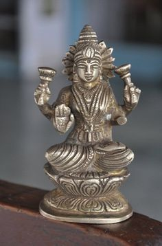 Fine Brass Handcrafted Engraved Goddess Laxmi Figurine , Collectible