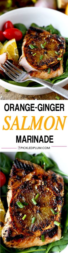 Orange-Ginger Salmon Marinade - Easy and healthy recipe with a prep time of only 5 minutes! Moist and tender salmon infused with citrus, sweet and umami. We love this on a bed of baby spinach! | pickledplum.com