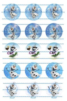 Sample INSTANT DOWNLOAD Olaf Frozen Bottle Caps by LibbysCharmingDesign