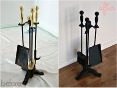 Easy fire poker set makeover with Rustoleum high heat spray paint
