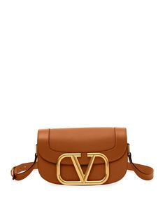 Valentino Garavani Garavani Medium Leather Vlogo Shoulder Bag In Brown Crossbody Shoulder Bag, Leather Shoulder Bag, Shoulder Strap, Crossbody Bag, Shoulder Bags, Valentino Bags, Valentino Garavani, New Bag, Shades Of Red