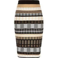 River Island Black geo print pencil skirt found on Polyvore featuring skirts, faldas, gonne, pencil skirts, black, tube / pencil skirts, women, geometric skirt, stretch pencil skirt en knee length pencil skirt