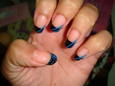 Black and Blue French Tip Nail art design