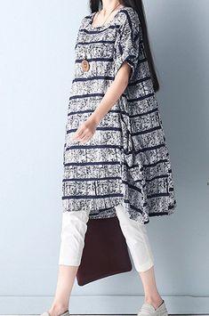 65d5dd3e95 Women loose fit over plus size gray black pocket tunic flax linen dress  blouse #Unbranded