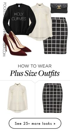 """""""Plus Size Black & White Trend"""" by adoremycurves on Polyvore featuring Zizzi, navabi and Chanel"""