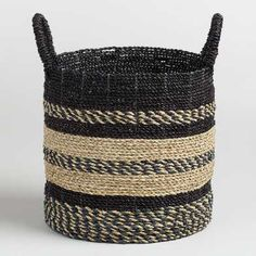Medium Black and Natural Seagrass Calista Tote Basket by World Market The Effective Pictures We Offer You About handle baskets decor A quality picture can tell you many things. You can find the most b World Market Store, Basket Decoration, Home Living, Living Room, Affordable Home Decor, Nature Decor, Fabric Shower Curtains, Green Fabric, Decorative Pillows