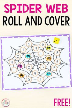 Try this fun spider roll and cover math game for a fun way to learn numbers, counting, subtilizing and addition. It's perfect for spider math centers! kindergarten Spider Roll and Cover Math Game Halloween Math, Halloween Activities, Preschool Activities, Math Classroom, Kindergarten Math, Math Math, Learning Numbers, Kids Learning, Fractions