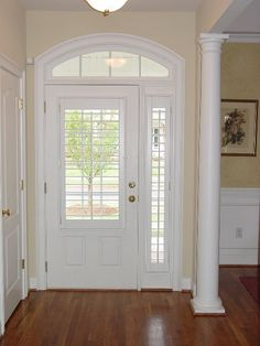 Plantation shutters used on front door and sidelight (ignore style) -- Sidelight Plantation Shutter House, Front Doors With Windows, Windows And Doors, Glass Front Door, Window Shutters, Entry Doors, Door Entryway, House Blinds, Front Door Design