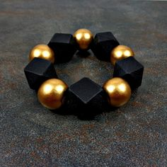 Statement Bracelet  Wood Bracelet Black Gold Geometric by Pilboxx