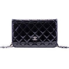 Pre-owned Chanel Black Patent Leather Wallet on Chain WOC Bag ($2,205) ❤ liked on Polyvore featuring bags, wallets, black wallet, pocket wallet, snap closure wallet, patent wallet and chanel bags