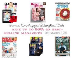amazon 5 dollar magazine Summer Magazine Deals For a limited time, save up to 90 percent on best-selling magazines for your best summer ever. Offer ends August 31, 2015.