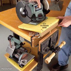 Mobile-But-Secure Bench-Top Tools - Shazam! Fasten your bench-top tools to your workbench in seconds. Bolt 3/4-in. plywood bases on the tools and then glue and screw a wood strip along the front edge to fit into a woodworking vise. Crank this strip into a vise to lock the tool into place. If you don't have a vise, drill a couple of clearance holes along the face of the wood strip on the base and drive screws through the strip into the edge of your workbench. Then just unscrew to remove the…