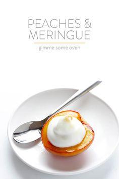 Peaches and Meringue | gimmesomeoven.com Unique Recipes, Sweet Recipes, Snack Recipes, Dessert Recipes, Healthy Recipes, Snacks, Great Desserts, Delicious Desserts, Yummy Treats