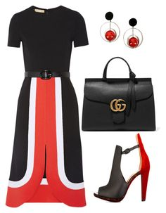 """""""Red Black and White Office Chic"""" by quintessential-chic ❤ liked on Polyvore featuring Michael Kors, Christian Louboutin, Marni and Gucci"""