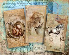 HOMAGE TO LEONARDO Digital Collage Sheet Printable Da by ArtCult, $4.90