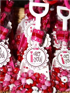 Super cute valentines. Miniture shovels, m&m's, cardstock and celophane bags.